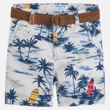 Printed Shorts with Belt - Light Grey (3274)
