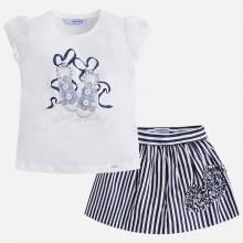 T-shirt and Striped Skirt Set - Navy (3995)