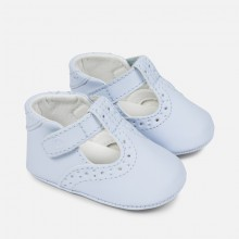 Blue T Bar Pram Shoes (9742)