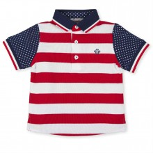 Boys White & Red Stripe Polo top - (2820)