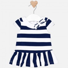 Infant Girls Navy Striped Dress (1814)