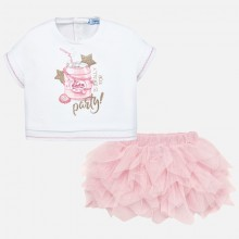 Infant Girls Tulle Skirt Set - Pink (1950)