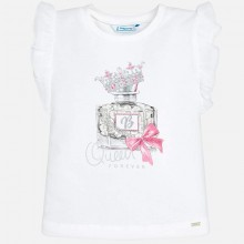 Girls Short Sleeve Top with Perfume Print - Pink (3007)