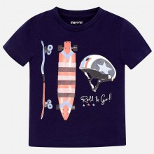 Boys Spangles Short Sleeve T-Shirt- Navy  (3029)