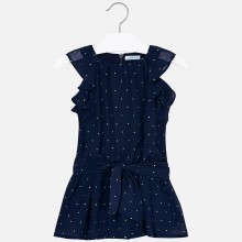 Girls Chiffon Playsuit - Navy (3804)