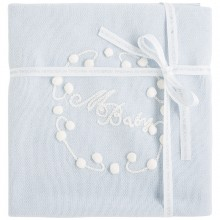 Light Blue Monogram Baby Blanket (19825)