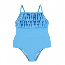Cyan Ruffle Bathing Suit