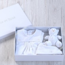 Graz - White Babygrow, Hat and Toy Boxed