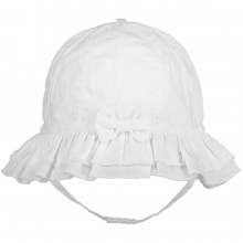 Gabby - White Sunhat with Chin Strap (4749)
