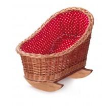 Dolls Wicker Cradle - Red & White
