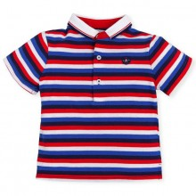 Boys Striped Polo Shirt - Navy (6843)
