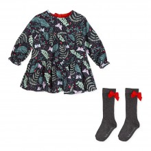 Girls Dress with Knee High Socks (7234)