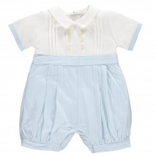 Saul - Pale Blue Striped Romper