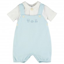 Stefano - Dungaree Romper with Applique Detail
