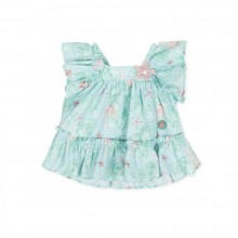 Girls Star Fish Print Dress - Green (8276)