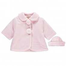 Napia - Pink Fleece Pom Pom Coat and Hat