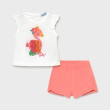 Infant Girl T-Shirt and Shorts Set - Flamingo Detail White/Coral (1232)