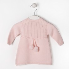 Pink Knitted PomPom Dress (02304A)
