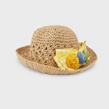 Girls Summer Hat with Flowers - Yellow (10081)