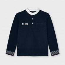 Long Sleeved Polo Top - Navy (3113)