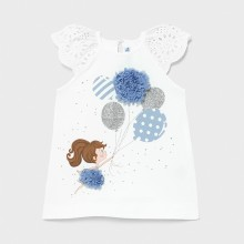 Infant Girls Dress with Girl/Balloon Detail - White/Blue (1983)