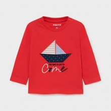 Infant Boys Long Sleeve Top - Yacht Detail Red (1017)