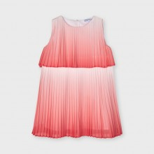 Girls Tie Dye Dress - Coral (3951)