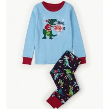 PJ Set - Applique Winter Sports T-Rex Dinosaur