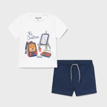 Infant Boys T-Shirt and Shorts Set - White/Navy (1671)