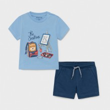 Infant Boys T-Shirt and Shorts Set - Blue/Navy (1671)