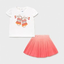 Infant Girl T-Shirt and Skirt Set - White/Coral (1996)