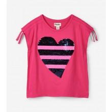 Flip Sequin Heart Tee - Pink