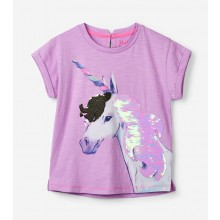 Flip Sequin Unicorn Tee - Lilac