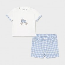 Infant Boys Short Set - Sky Blue/White (1205)