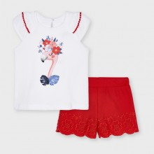 Girls T-Shirt and Embroidered Shorts Set - White/Red (3217)