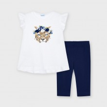 Girls T-shirt & Leggings Set with Sequin Detail - (3560) White/Navy