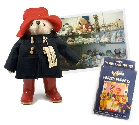 Paddington Bear, soft toys, galt, finger puppets